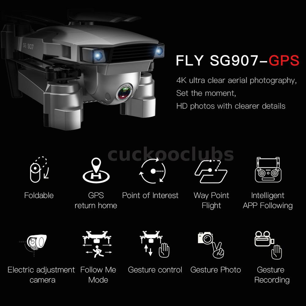 SG907 GPS Drone w// 4K HD Dual Camera WIFI FPV RC Quadcopter Foldable Drone K5C4